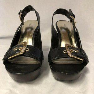 Nine West WNHYDROLIC 8M Open Toe Wedges Black